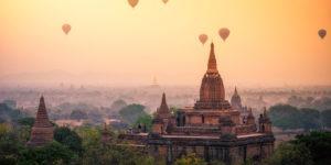 Vista panorámica de templos de Bagan