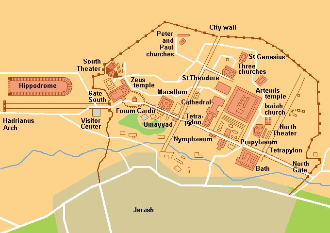 Mapa Jerash